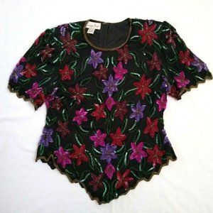 Vintage Laurence Kazar XL Sequin Beaded Top Floral